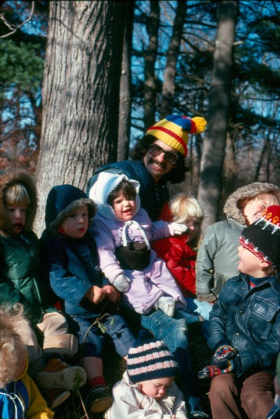 Nursery outing; kids with Larry Raffel, November 1976