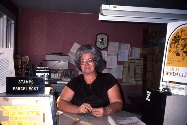 Wendell Bicentennial slide show: Clerk at the Post Office: , ca. 1981