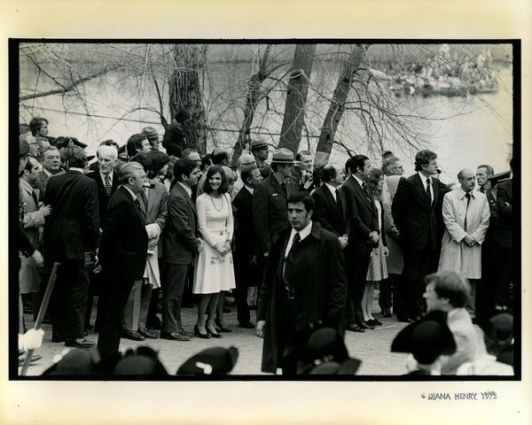 McCormick, Dukakis, Ted and Caroline Kennedy, and Ed Brooke at Bicentennial, April 19, 1975