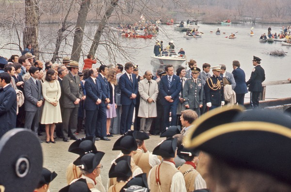 Massachusetts Governor and Senator at the Bicentennial Commemoration, April 1975