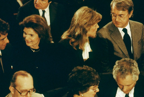 Jackie Onassis and William vanden Heuvel at the funeral of Allard Lowenstein, 1980