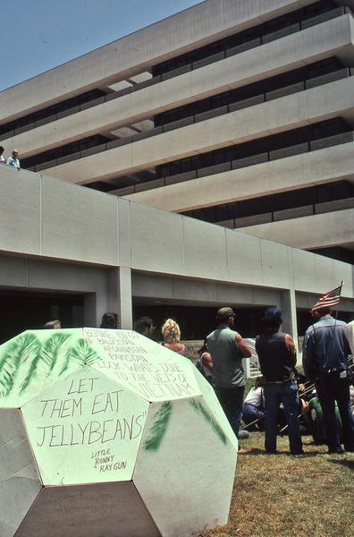 Cardboard construction in front of the hospital, June 1981