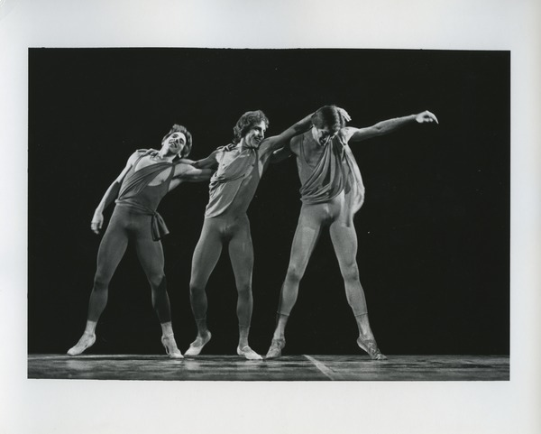 Three male dancers performing, 1977