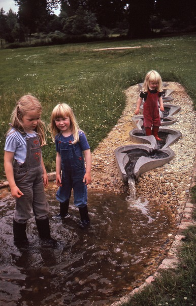 Girls wading in flow form, August 1981