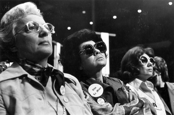 Elizabeth Athanasakos, GIlda Bojorquez Cjurich commissioners at the First             National Women's Conference, 1977