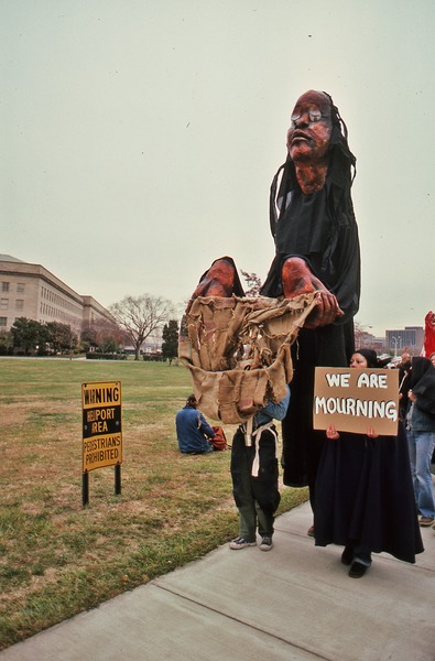 Pentagon demonstrators with the black and red puppets, November 1980
