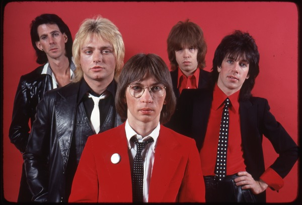 The Cars, photo shoot for Candy-O: (from left) Ric Ocasek, Benjamin Orr, Greg Hawkes, David Robinson, Elliot Easton, 1978