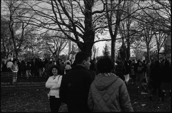 Draft rally in Wakefield: wide view of park and attendees, October 29, 1967