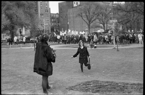 Vote With your Feet anti-Vietnam War protest march: woman running to meet Marcia Braun in the Boston Public Garden: , November 9, 1968