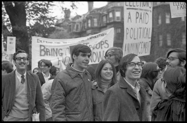 Vote With your Feet anti-Vietnam War protest march: Marcia Braun (right) and Ed Siegel (2nd from right) among protestors in Boston Garden: , November 9, 1968