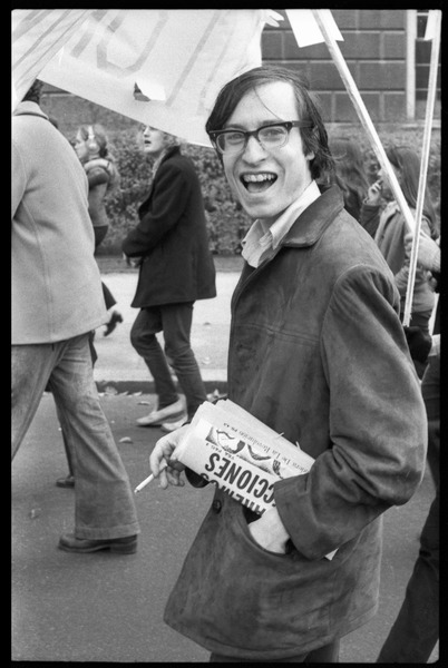 Vote With your Feet anti-Vietnam War protest march: Ed Siegel, with cigarette and newspaper, marching amongst the crowd of protesters: , November 5, 1968