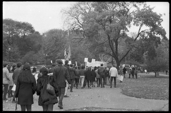 Vote With your Feet anti-Vietnam War protest march: Protesters marching across the Boston Public Garden: , November 5, 1968