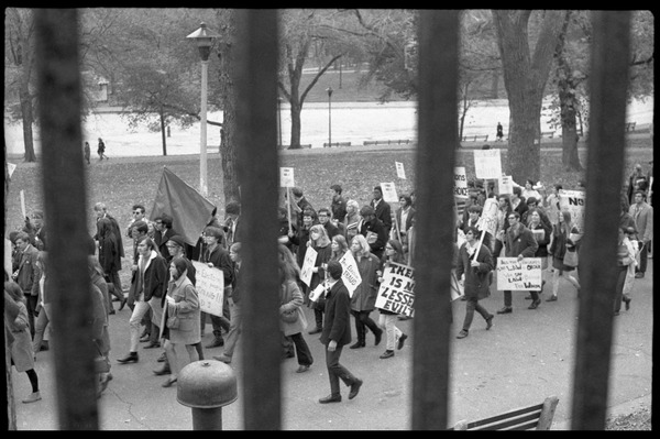 Vote With your Feet anti-Vietnam War protest march: Line of antiwar protesters marching on Boston Common: , November 5, 1968