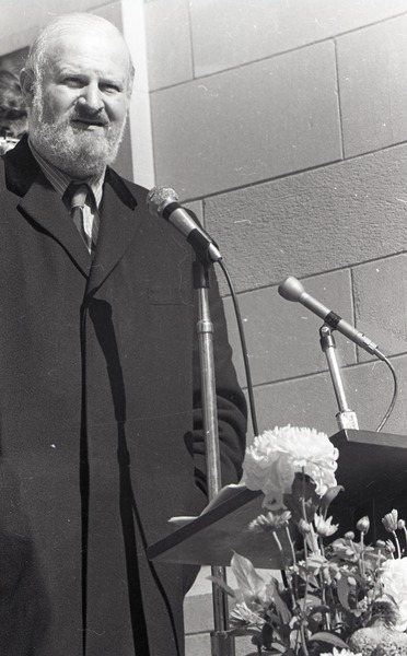 Moratorium to End the War in Vietnam: Murray Levin speaking on steps of Marsh Chapel, Boston University, October 15, 1969