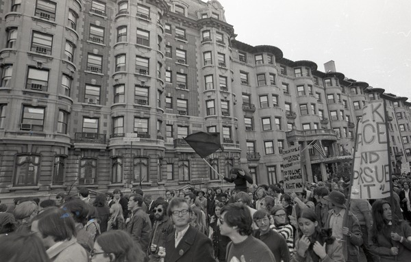 Moratorium to End the War in Vietnam: protestors marching down Commonwealth Ave., October 15, 1969
