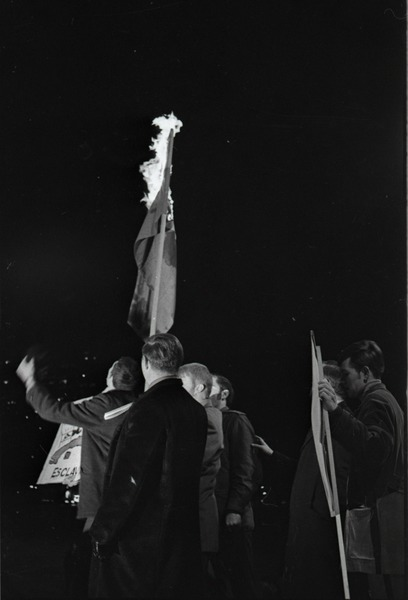 Young Americans for Freedom pro-Vietnam War demonstration, Boston Common:             Burning the North Vietnamese flag, December 7, 1969