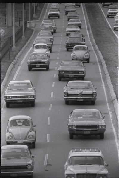 Views of Boston: cars on Storrow Drive, March 1970