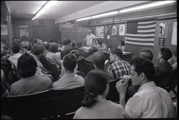 Student Mobilization Committee to End the War in Vietnam meeting against SDS             violence: view of audience, June 1, 1970