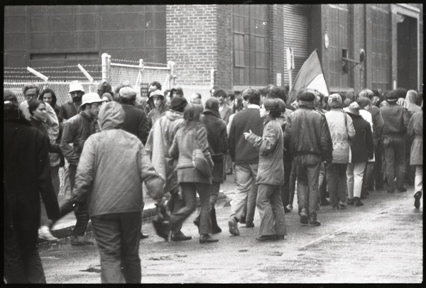 MIT I-Lab demonstration: protesters, one waving North Vietnamese flag, February 1970