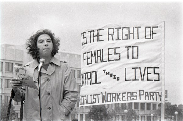 Abortion reform rally at Boston City Hall: Toba Singer speaking, ca. October 26, 1970