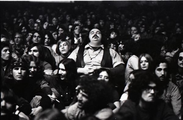 Grateful Dead at Sargent Gym, Boston University: man with eyes closed in audience, November 21, 1970