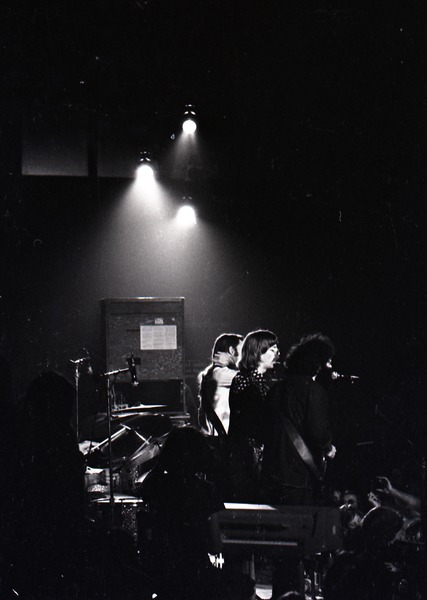 Grateful Dead at Sargent Gym, Boston University: The Grateful Dead onstage, Jerry Garcia, Phil Lesh, and Bob Weir at front, November 21, 1970