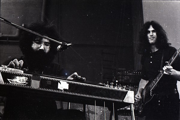 New Riders of the Purple Sage opening for the Grateful Dead at Sargent Gym, Boston University: Jerry Garcia on pedal steel guitar with Dave Torbert on bass, November 21, 1970