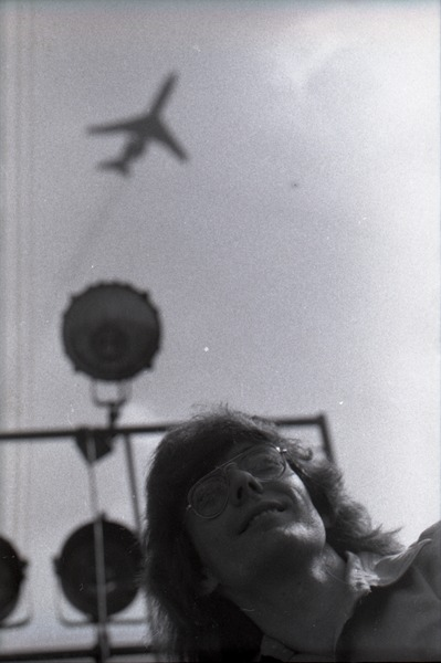 May Day concert and demonstrations: Rennie Davis with plane above, May 1, 1971