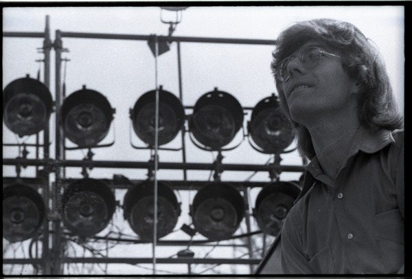 May Day concert and demonstrations: close-up of Rennie Davis on concert stage, ca. May 1, 1971
