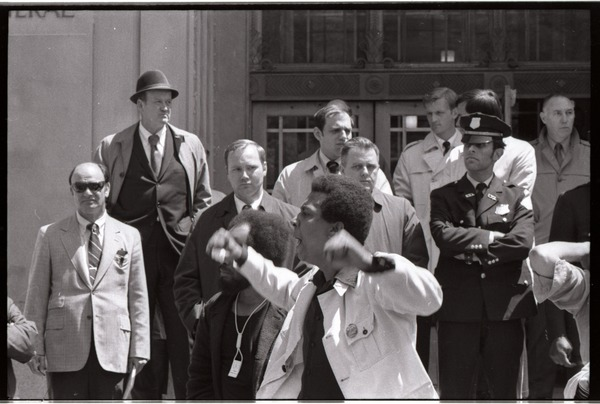 May Day demonstrations and street actions by the Justice Department: African             American protester exhorting the crowd, May 4, 1971