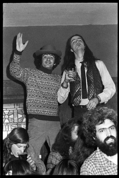 Joe Spadafora (left) with James Montgomery, at the opening of Club Zircon, January 1972