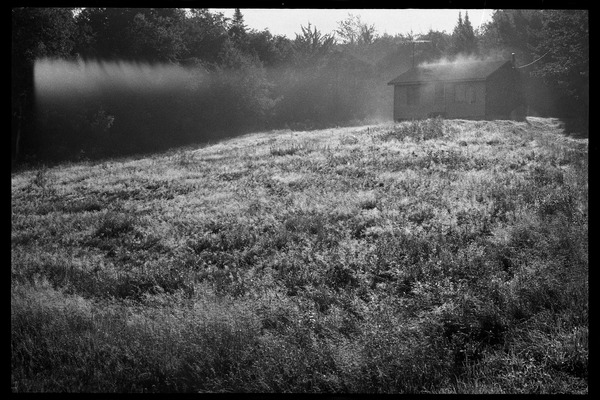 Cabin in a field in mist and morning light, Earth People's Park, ca. September 1971
