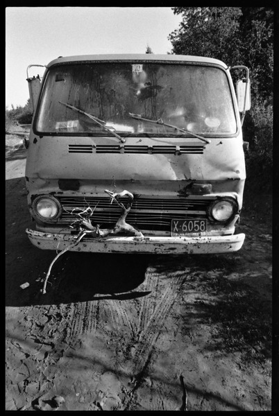 Hippie van with branch attached to front grill, Earth People's Park, ca. September 1971
