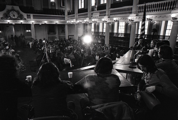 Vietnam Veterans Against the War Winter Soldier Investigation: Faneuil Hall audience from behind panel, October 10, 1971