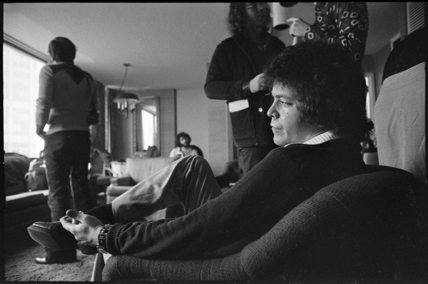Lou Reed at the Colonnade Hotel: close-up of Reed, seated in a chair, being interviewed, ca. February 3, 1973