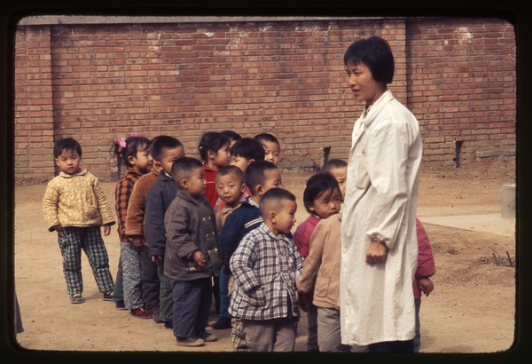 General Petrochemical Works -- children lined up with teacher, March 22, 1977