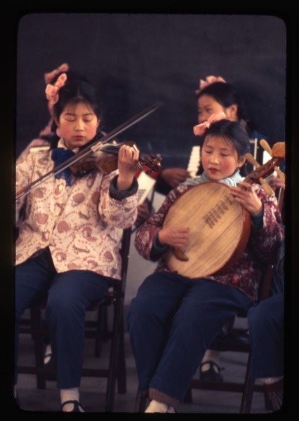 Hsiao Ying Primary School -- girls playing stringed instruments, March 24, 1977