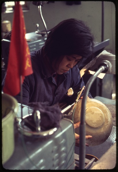 Carving a jade bowl (jade from Hunan Province), March 30, 1977