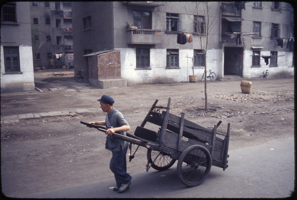 Foshan: hand-pulled cart, April 7, 1977