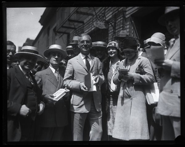 Upton Sinclair and supporters outside public hearing on censorship of his novel Oil! , ca. 1927