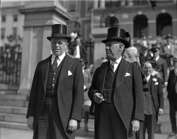 Govs. Alfred E. Smith and Joseph Buell Ely (r. to l.) in front of the Massachusetts State House, ca. June 22, 1933