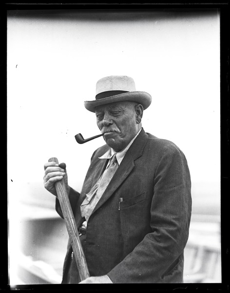 George Fred Tilton: Portrait of 'one of the last whaling captains' smoking a pipe: , ca. 1925