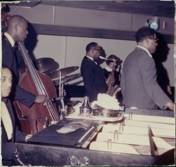 From left: Kenny Barron (piano), Chris White (bass), James Moody       (saxophone), and Dizzy Gillespie performing at the Jazz Workshop, ca. 1965