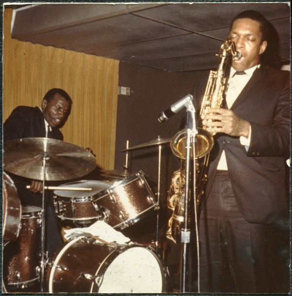 John Coltrane (saxophone) and  Elvin Jones (drums) performing at the Jazz Workshop, ca. 1964
