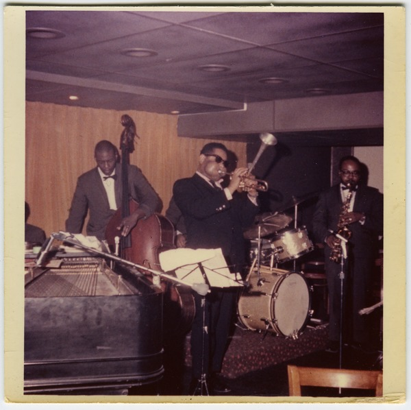 Dizzy Gillespie (trumpet), Chris White (bass), and James Moody (saxophone)       performing at the Jazz Workshop, ca. 1965