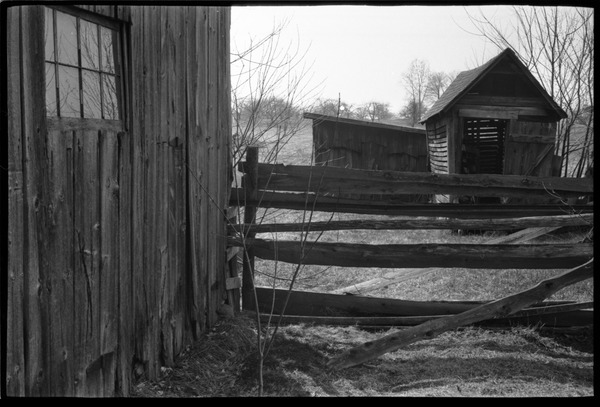 Barns, fence, and outbuildings, April 1968