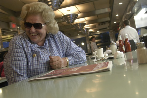 Whately Diner: customer with dark glasses, seated at the counter, May 18, 2003