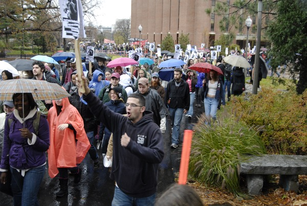 UMass student strike: strikers marching past the Du Bois Library, November 15, 2007