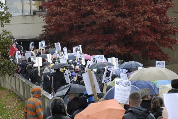 UMass student strike: strikers marching in to occupy Whitmore Hall, November 15, 2007