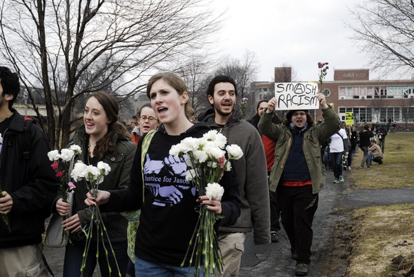 Justice for Jason rally at UMass Amherst: protesters marching from the Student Union Building in support of Jason Vassell, March 12, 2008